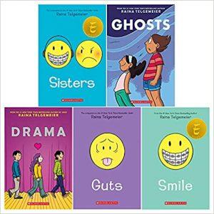 Raina Telgemeier Collection 5 Books Set (Sisters, Drama, Smile, Ghosts, Guts)